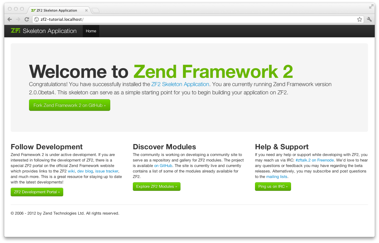 Zend Framework Skeleton Application